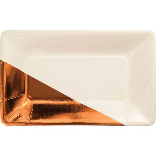 DTC329886APLT: CC Ivory and Copper Foil Appetizer Plates
